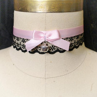 Cutiepie choker necklace Baby pink black lace bow bell choker collar , pastel goth gothic lolita Handmade jewelry