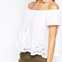 Glamorous Off Shoulder Broiderie Swing Top