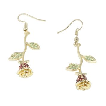 Licensed cool Licensed Disney Beauty & The Beast Rose Drop Dangle Earrings Bling Faux Gems NEW