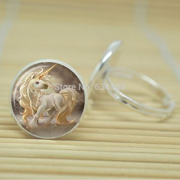 Long Hair Unicorn Ring Glass Cabochon Adjustable Silver or Antique Bronze Color Metal
