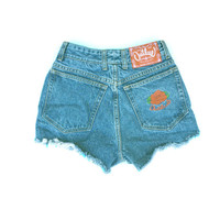 "Waist 25.5"" Vintage Outlaw Rose Embroidered Denim Shorts High Waisted Cutoff Jean"