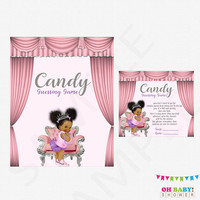 African American Baby Shower Games, Candy Guessing Game, Pink Baby Shower Games, Lavender, Silver, Guess How Many Candies, Printable, BBPSL