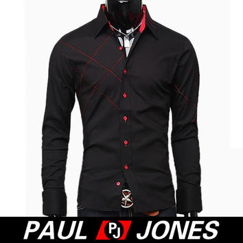 Stylish Mens Designer Luxury Slim Fit Long Sleeve Polo Formal Casual Dress Shirt