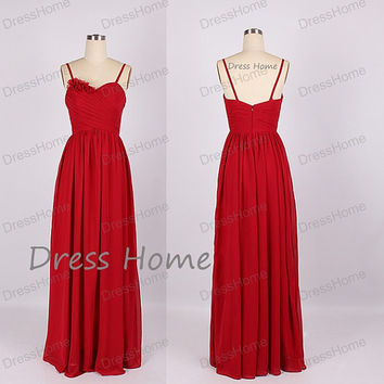 Sweetheart Long Bridesmaid Dress - Red Bridesmaid Dresses / Simple Bridesmaid Dress/Prom Dress / Simple Long Prom Dress DH149