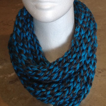 Turquoise and Gray Infinity Eternity Cowl Circle Scarf