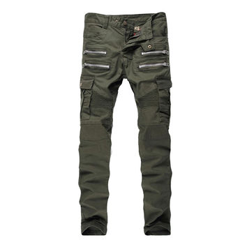 ABOORUN Mens Skinny Ripped Biker Jeans Multi Pockets Cargo Pant Army Green Mens Pleated Pencil Jeans P2086