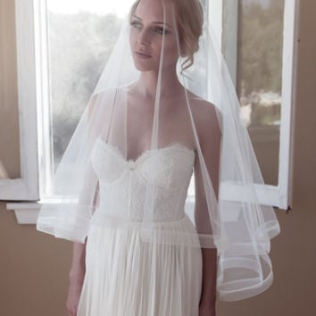 "Drop Wedding Veil with 1"" Thin Horsehair Border, Simple Ribbon Edge Veil, Blusher, Cathedral, Style: 1"" Horsehair #1203-1"