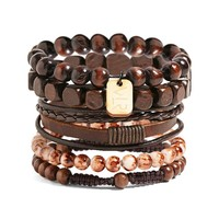 Men Vallour Bead & Leather Bracelet Set