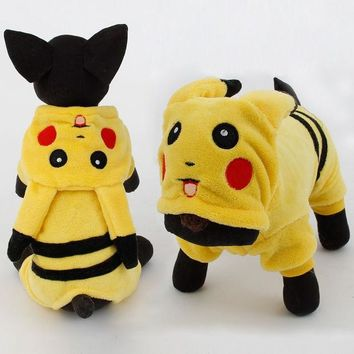 ac NOOW2 New Arrival Dogs Clothes Cute Cartoon Pikachu Design Cosplay Pets Costume Dog Clothing For Cats Puppy Hoodie Winter Warm Coat