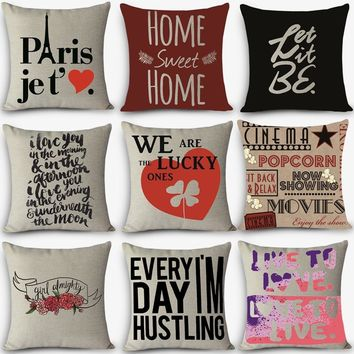 High quality home decorative pillow LOVE sweet words Printed 45x45cm pillowcase Vintage Cotton Linen pillows Modern style G8