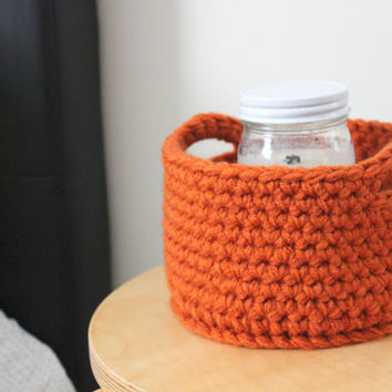 Small Crochet Storage Basket, Office Storage, Organization, Supply Holder, Fall Decor, Pumpkin Decor, Fall Basket, Home Office, Modern