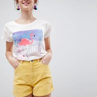 Blend She Sunday Flamingo Print T-Shirt at asos.com