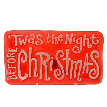 Tabletop TWAS THE NIGHT BEFORE CHRISTMAS PLATTER Glass Hand Wash 2020180474