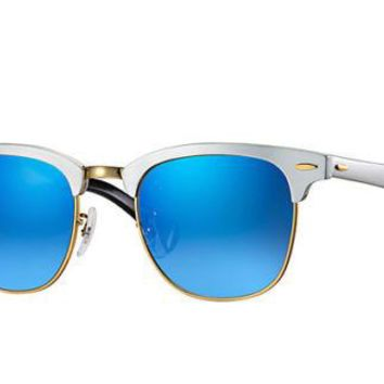 Ray-Ban ALUMINIUM CLUBMASTER Blue FLASH LENS Silver Sunglasses RB 3507 137/7Q