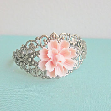 Bridal Bracelet Bridesmaid Cuff Bracelet Floral Bridal Jewelry Flower Corsage Wedding Soft Blush Pink Shabby Chic Romance Bridesmaid Gift