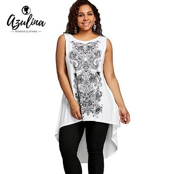 AZULINA Plus Size Tops O Neck Sleeveless Paisley High Low T-Shirt 2018 Summer Casual Long T Shirt Top Big Size Women T-Shirts