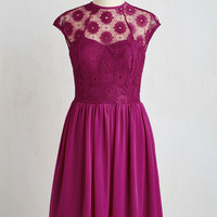 Mid-length Short Sleeves A-line Up and Stunning Dress in Fuchsia