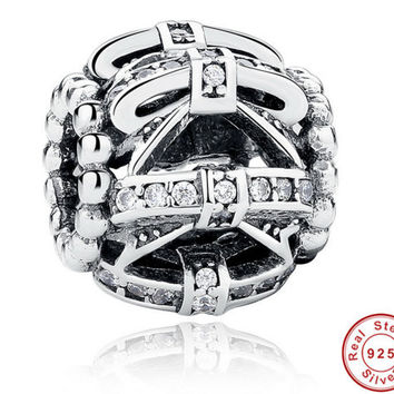 Original 925 Sterling Silver Bow-knot Crystals Charm Fit PANDORA Beads Bracelet