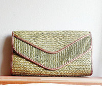 Green Woven Clutch Purse / Rose gold trim / Glam / Boho Chic / Large Clutch / Studio 54 style / envelope clutch / summer style