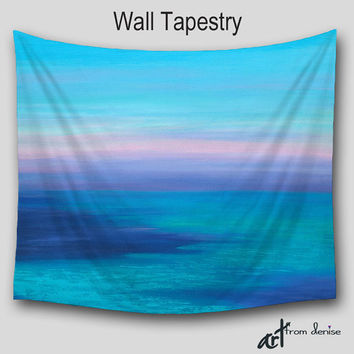 Coastal beach, Wall tapestry, Abstract art Tapestries, Wall Hanging, Boho, Teal aqua turquoise navy blue violet, Home decor, Outdoor Patio