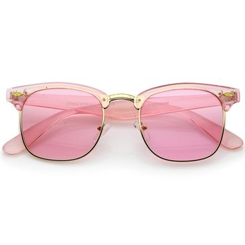Colorful Transparent Horn Rimmed Tinted Lens Half-Frame Sunglasses 49mm