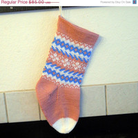 Hand Knit Christmas Stocking in pink, Baby's First Christmas stocking