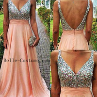 Custom-made Pink Long Prom Dresses, Long Prom Dresses 2016, Prom Dress, 2016 Evening Dresses
