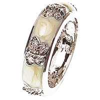 Beautiful Designer Inspired Brass With Rhodium Overlay Cream Enamel Butterfly Designed Ring.