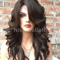 Lindsey Dark Brown Hi Lite Mix Wavy Human Hair Blend Full Wig 14""