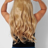 18/24 Caramel Blonde Curly Synthetic Instant Full Head Clip In Hair Extensions | Pink Boutique