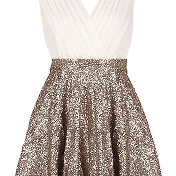 Glitter Empress Dress | Gold Sequin White Surplice Dresses | Rickety Rack