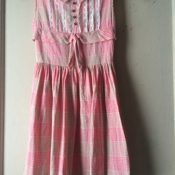 Vintage 1950s Little Girl's Dress Pink Plaid Sundress Party Dress Cotton Picnic Dress Young Girls Dress Flower Girl Tea Dress Easter Dress