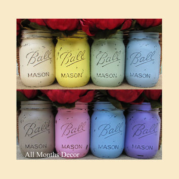 Choose Your Color & Size, 1 Painted Mason Jar, Pint or Quart, Distressed Home Wedding Party Decorations, Rustic Shabby Chic Floral, Country