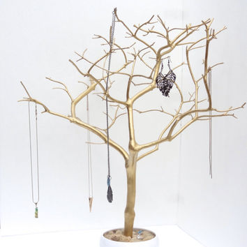 Jewelry Holder Tree Gold Organizer painted necklace holder branch bedroom decor for her