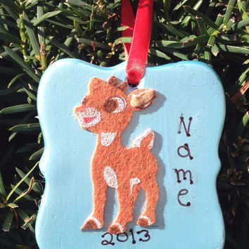 Personalized Metallic Light Blue Reindeer Ornament