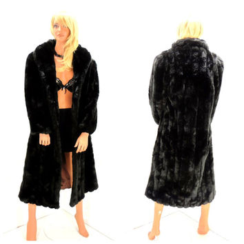 Vintage full length black faux mink coat, size S / M, 1980s Jordache faux fur coat, long black faux fur, SunnyBohoVintage