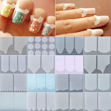 Bluelans 18 Packs French Stencil Nail Art Form Fringe Guides Manicure DIY Stickers Tips