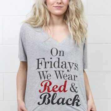 On Fridays We Wear Red & Black Slouchy Tee {Heather Grey}