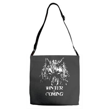 game of thrones direwolf winter is coming Adjustable Strap Totes