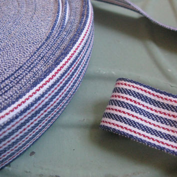 Vintage Red White and Blue Ticking Ribbon, French Country Decor, 5 Yards, Vintage Sewing, Gift Wrap Supplies, DIY Wedding