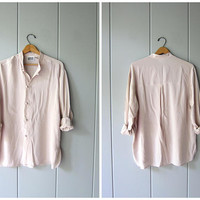 Minimal Silk Blouse Buff Beige Slouchy Blouse Kimono Buttons Modern Silk Top Long Sleeve Casual Blouse Knot Buttons Womens Medium Large