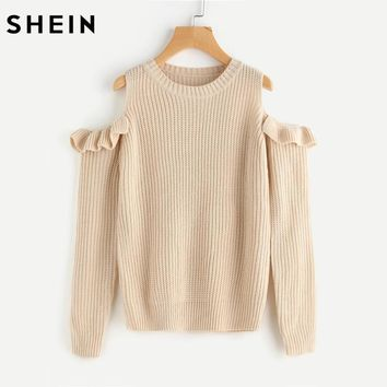 SHEIN Women Sweater 2017 Long Sleeve Cold Shoulder Womens Knit Tops Sweaters Apricot Frilled Open Shoulder Jumper