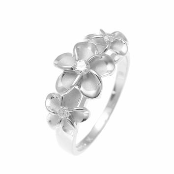 STERLING SILVER 925 HAWAIIAN FANCY 3 PLUMERIA FLOWER RING CZ RHODIUM SIZE 3 - 10