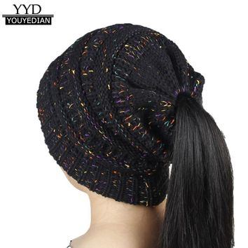 2017 Women Baggy Warm Crochet Winter Wool Knit Beanies Women Skull Slouchy Horse Tail Caps Hat For Women Men *1204