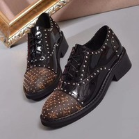 LV LOUIS VUITTON Women Fashion Leather Rivets Low Heeled Shoes