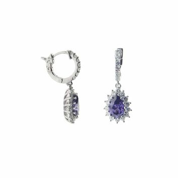 Fronay Collection Amethyst Cubic Zirconia Huggie Earrings: 925 Sterling Silver