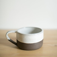 White and Dark Brown Ceramic Mug