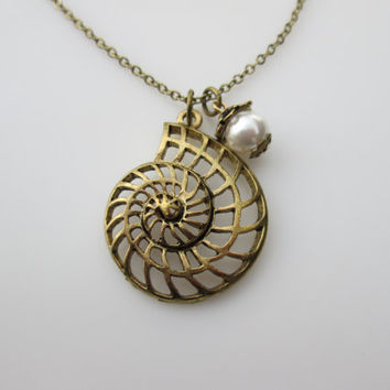 Nautilus Charm Necklace in Antique Gold Finish with Pearl