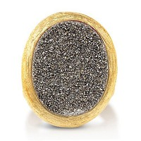 Oval Silver Color Natural Druzy Quartz Goldtone Brass Fashion Ring #r697-S