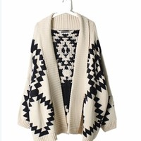 White Geometric Knit Sweater